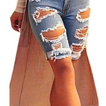 Dokotoo Womens Casual Denim Destroyed Bermuda Shorts Jeans