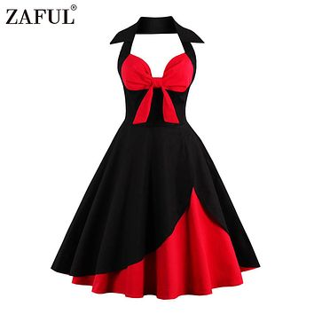 ZAFUL Vintage 1950s 60s Rockabilly Summer Dress 2018 Sexy Halter Women Dress Robe Plus Size Pin Up Retro Party Dresses Vestidos