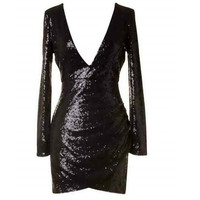 Sleeve Sequin Dress