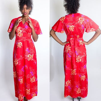 Vintage 1960's Royal Hawaiian Red Floral Maxi Dress / Flutter Sleeves / Luau / Beach Party / Beach Blanket Bingo / Size Medium