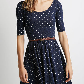 Blue Polka Dot Half Sleeve Mini Dress