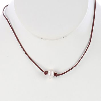 Burgundy Knotted Rubber Cord Pearl Charm Necklace