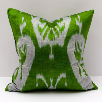 15x15 ikat cushion cover, green gray ikat pillow green pillow, ikat pillow, pillow cover cushion case
