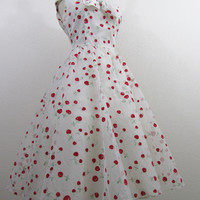 1950s Party Dress White Dress with Red Cherries by 4birdsvintage