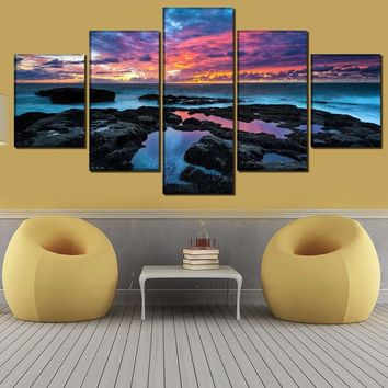 Wall Art Poster Home Decor Living Room Canvas Print Painting 5 Panel Colorful Ocean Sea Sky Modular Landscape Pictures Framework
