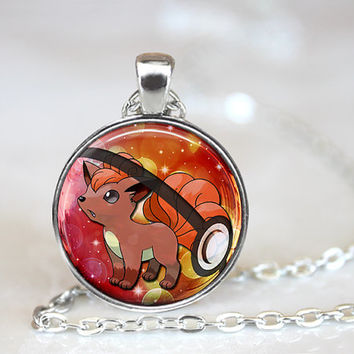 Vulpix Pokemon Pokeball Necklace 1 Inch Round Cosplay Birthday Christmas Friendship Gift Collection Anime Geekery Gaming Handcrafted Pendant