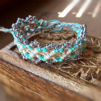Beaded Hemp Bracelet, Macrame Cuff, Hemp Jewelry, Seed Beaded, Boho Jewelry