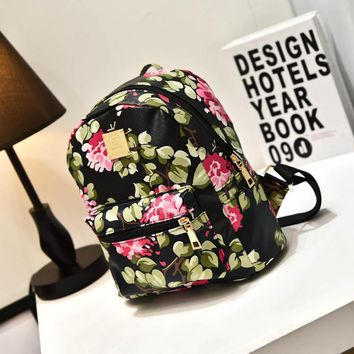 Mini Small Leather Floral Printed Backpack