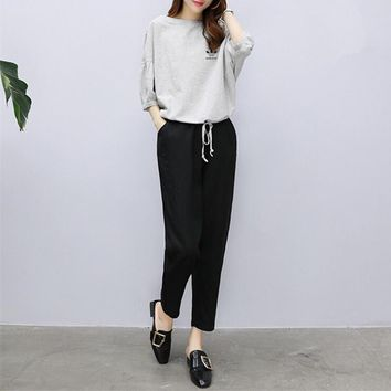 """""""Adidas"""" Women Loose Casual Show Thin Middle Sleeve Tops Trousers Set Two-Piece Sportswear"""