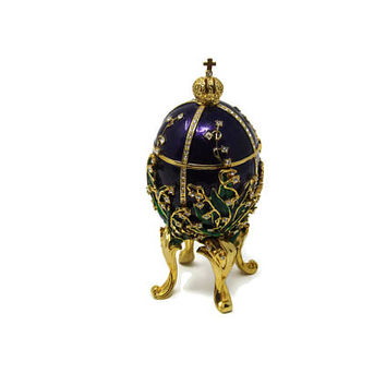 Faberge Style Egg - 1898 Lily of the Valley Faberge Egg - Keepsake Box - Jewelry Box - Porcelain Egg - Vintage Trinket Box - Easter Egg