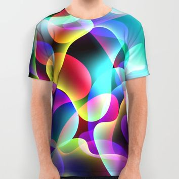 Electric  Rainbow Jellyfish All Over Print Shirt by Miss L In Art