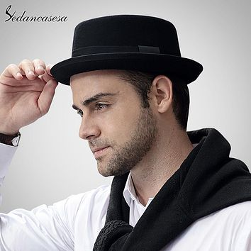 Sedancasase New 2017 Fashion 100% Australia Wool Men's Fedora Hat with Pork Pie Hat for Classic Church Wool Felt Hat FM017028