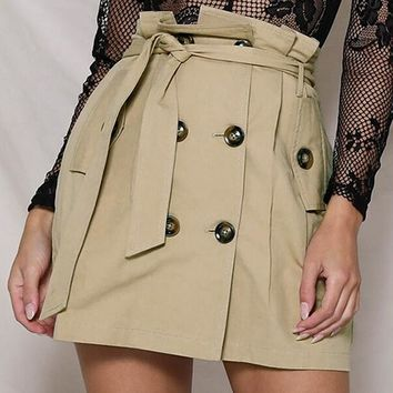 Double Breasted Kakhi Skirt Elegant Office Lady Casual A-line Skirt High Waist Sash Button Skirt Falda Mujer