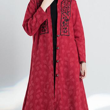 Vintage Embroidery Jacquard Button Fly Women Long Jackets