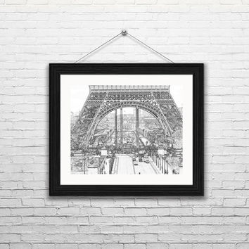 Paris Sketch Street Level Eiffel Tower- Paris France Sketch, home decor, ink drawings,-- Instant Download Paris France,