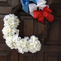 "17"" Patriotic Wreath / Americana Decor / Red White Blue Wreath / 4th of July Wreath / Fourth of July Decor / Door Wreaths / Handmade"