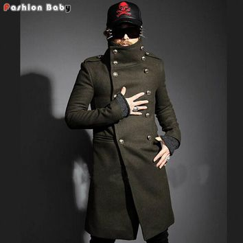 Men Cool Yuppie Double-breasted Turn-down Collar Long Design Slim-fit Woolen Trench Jacket Coat Winter Army Green