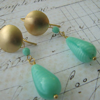 Mint Green Earrings, Green Gold Earrings, Matte Gold Plate Teardrop Dangle Earrings