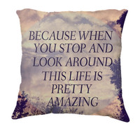 "Throw Pillow-Home Decor- ""Pretty Amazing"" 18 x 18 Pillow-Typography--Pink & Purple-Home Decor- - $35.00 - Handmade Home Decor, Crafts and Unique Gifts by Vintage Skies Photography & Designs"