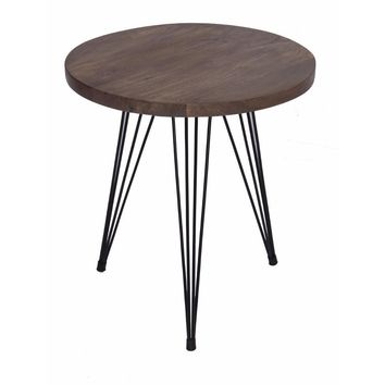 Industrial Style Round Top End Table With Metal Wire Style Legs, Brown And Black By The Urban Port