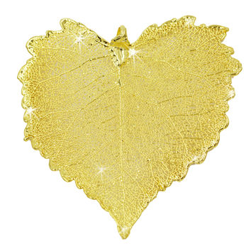 "Real Leaf Christmas ORNAMENT COTTONWOOD 3"" Dipped in 24K Yellow Gold"