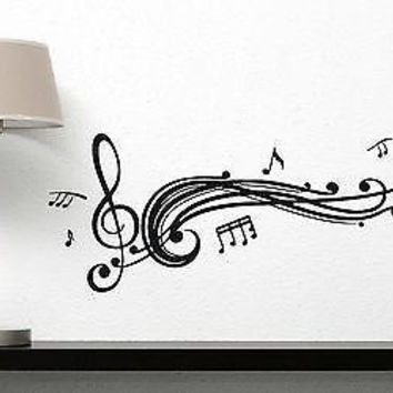 Wall Vinyl Sticker Decal Read Music Score Notes Treble Clef Decor Unique Gift (n310)