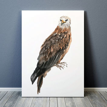 Nursery watercolor Red kite poster Cute bird art print ACW164