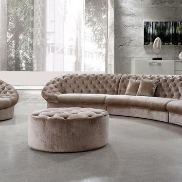 Contemporary Tufted Fabric Sofa Set