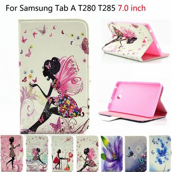"2016 For Samsung Tab a6 7"" Case Printed Girls Silicon PU Leather Cover For Samsung Galaxy Tab A 7.0 T280 T285 Cases Tablet Funda"