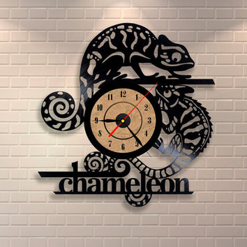 Chameleon art vinyl wall record clock