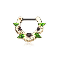 "Gold Septum Clicker 14g 1/4"" 6mm Golden Daisy Garden Icon Septum Ring"