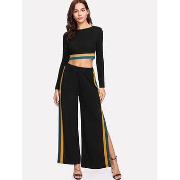 Black Striped Hem Crop Top And Split Side Palazzo Pants Set