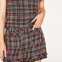 SHORT TWEED FRAYED SKIRT