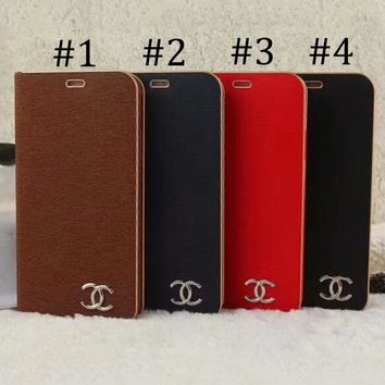 CHANEL 2018 new street fashion iPhone 6Plus leather phone case F-OF-SJK