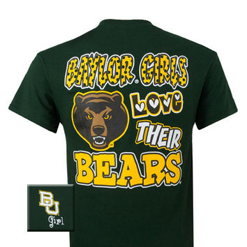 New Texas Baylor Girls Love Their Bears Girlie Bright T Shirt