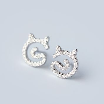 Personalized fashion small cat 925 sterling silver zricon earrings, a perfect gift