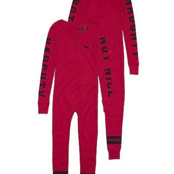 Victoria's Secret PINK Onesuit Pajamas Red Naughty Not Nice