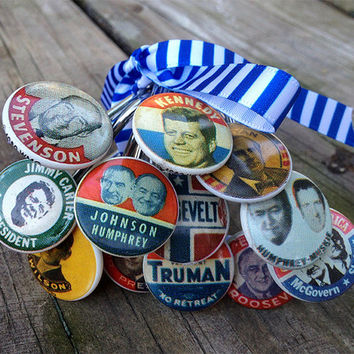 Shower Curtain Hooks, Presidential Election Campaign Buttons, Democrat