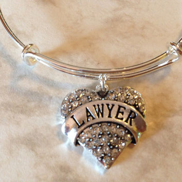 Lawyer Crystal Heart Charm on a Silver Plated Bangle / Alex and Ani Inspired / Great Lawyer Gift / Appreciation Gift / AAA Quality / Sturdy