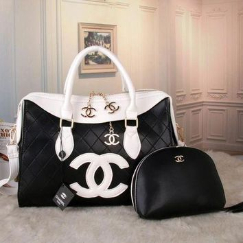 ONETOW GUCCI classic ladies bag F-MYJSY-BB Black - white - white double c
