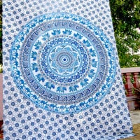 Block print tapestry elephant camel floral fitted sheet, Twin mandala throw, table cloth, Indian tapestry, hippie bedding, Jaipur bedspread