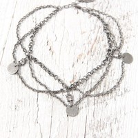 Ettika - PacSun Coin & Crystal Anklet - Womens Jewelry - Silver - One