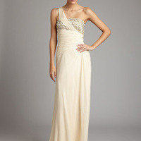 ideeli | J. HOAGLUND One Shoulder Ruched Embellished Gown