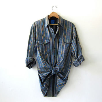 20% OFF SALE...Vintage boyfriend shirt / Grunge Shirt / button up shirt / Ikat western print.