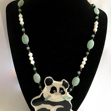 "Adorable 1970s - Panda Eating Bamboo Leaves - Pendant by Hawaiian Artist Lee Sands in Mother of Pearl Inlay on a 20"" Beaded Necklace"