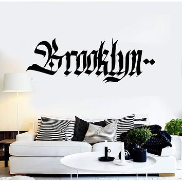 Vinyl Wall Decal Brooklyn Graffiti Word Teen Room New York Stickers Unique Gift (ig4345)