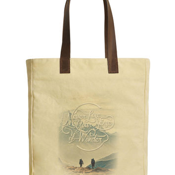 Never Lose Your Sense Beige Printed Canvas Tote Bags Leather Handles WAS_30