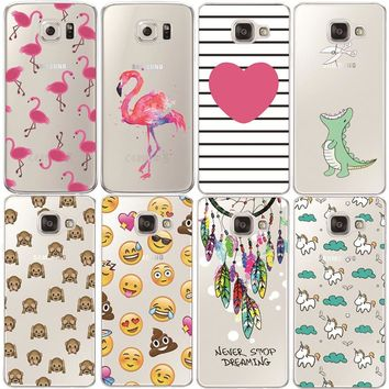 Flamingo Case For Samsung Galaxy S4 S5 S6 S7 Edge S8 Plus A3 A5 2016 2015 2017 J1 J2 J3 J5 J7 Transparent Silicone Fundas