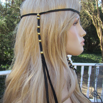 1 Black Leather BOHO Headband Hair Wrap with Antique Brass Gold Beads