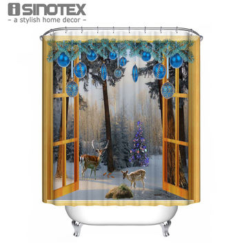 Shower Curtain Christmas Santa Claus Elk Snowman 180*180Cm House Printed Mouldproof Waterproof Bath Curtain For Bathroom 1Pcs